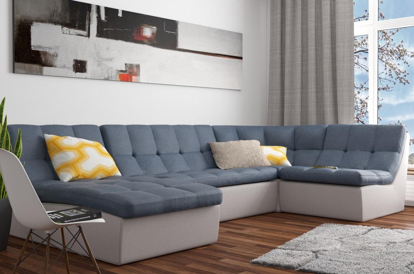 спальная комната с диваном угловым