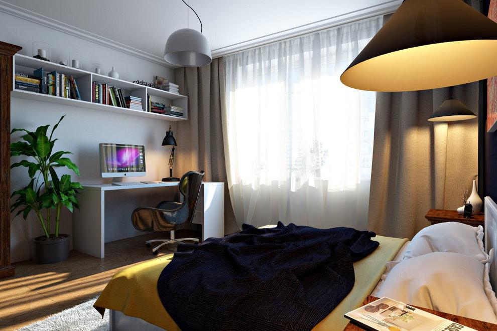 Рабочий кабинет в спальне квартиры