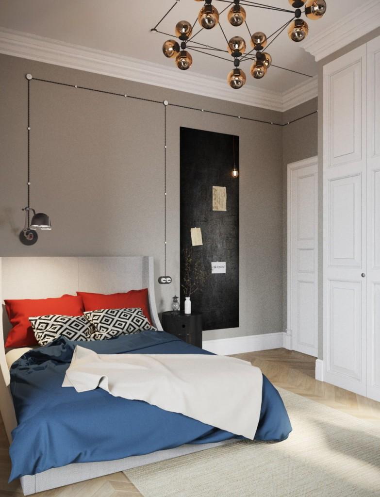 Уютная спальня в квартире 100 квадратных метров