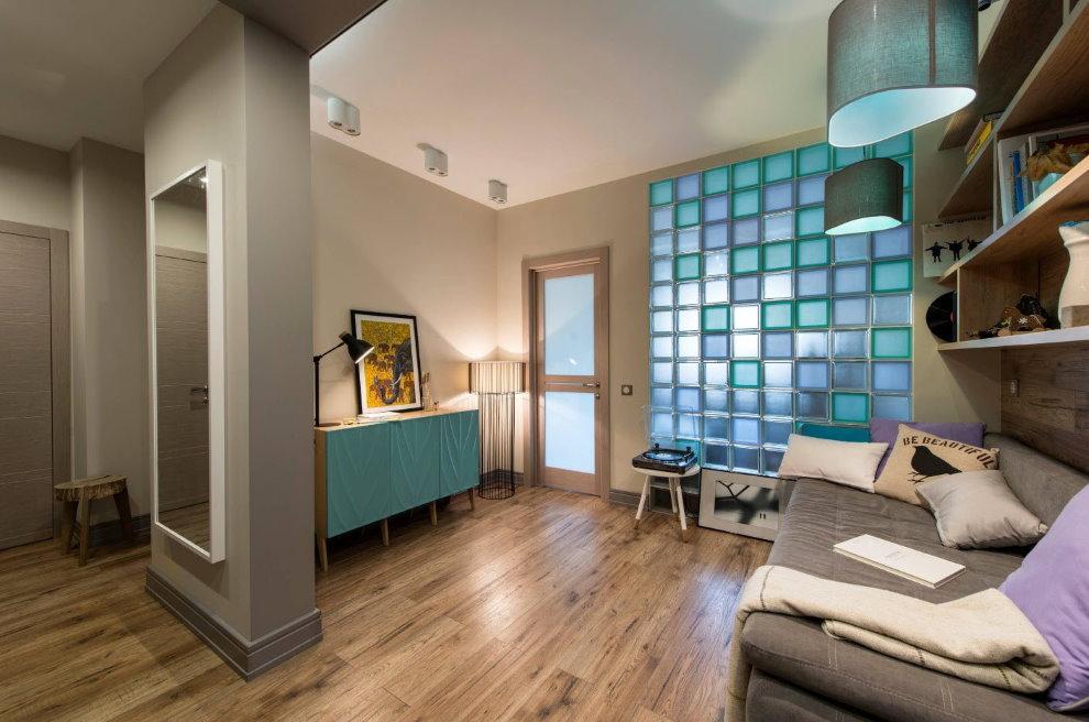 Стеклоблоки в интерьере однокомнатной квартиры