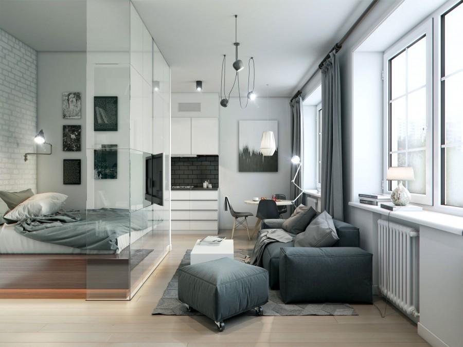 Интерьер светлой квартиры-студии площадью 45 кв м