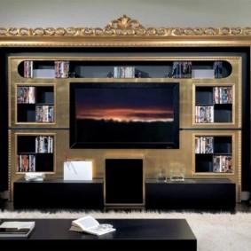 стенка под телевизор классика фото