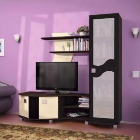 стенка под телевизор в гостиную декор фото