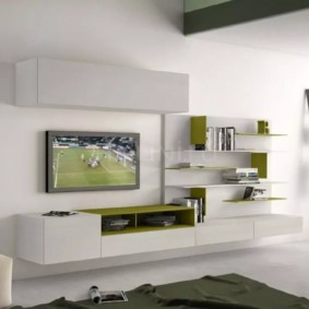 стенка под телевизор в гостиную фото декора