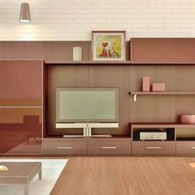 стенка под телевизор в гостиную декор идеи