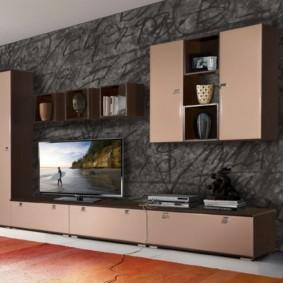 стенка под телевизор в гостиную идеи декор