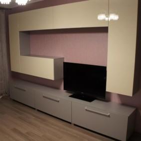стенка под телевизор в гостиную интерьер фото