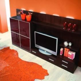 стенка под телевизор в гостиную фото интерьер