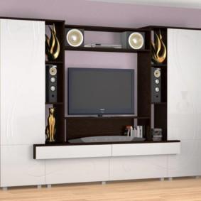 стенка под телевизор в гостиную интерьер идеи