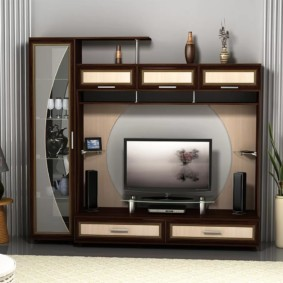 стенка под телевизор в гостиную оформление