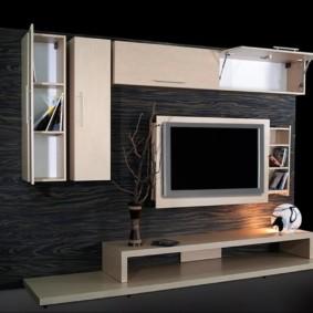 стенка под телевизор в гостиную фото оформление