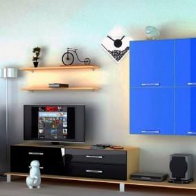 стенка под телевизор в гостиную виды декора