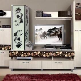 стенка под телевизор в гостиную дизайн фото