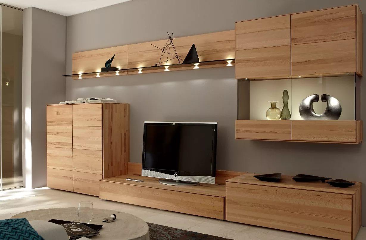 стенка под телевизор в гостиную из дерева