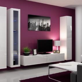 стенка в гостиную комнату виды декора