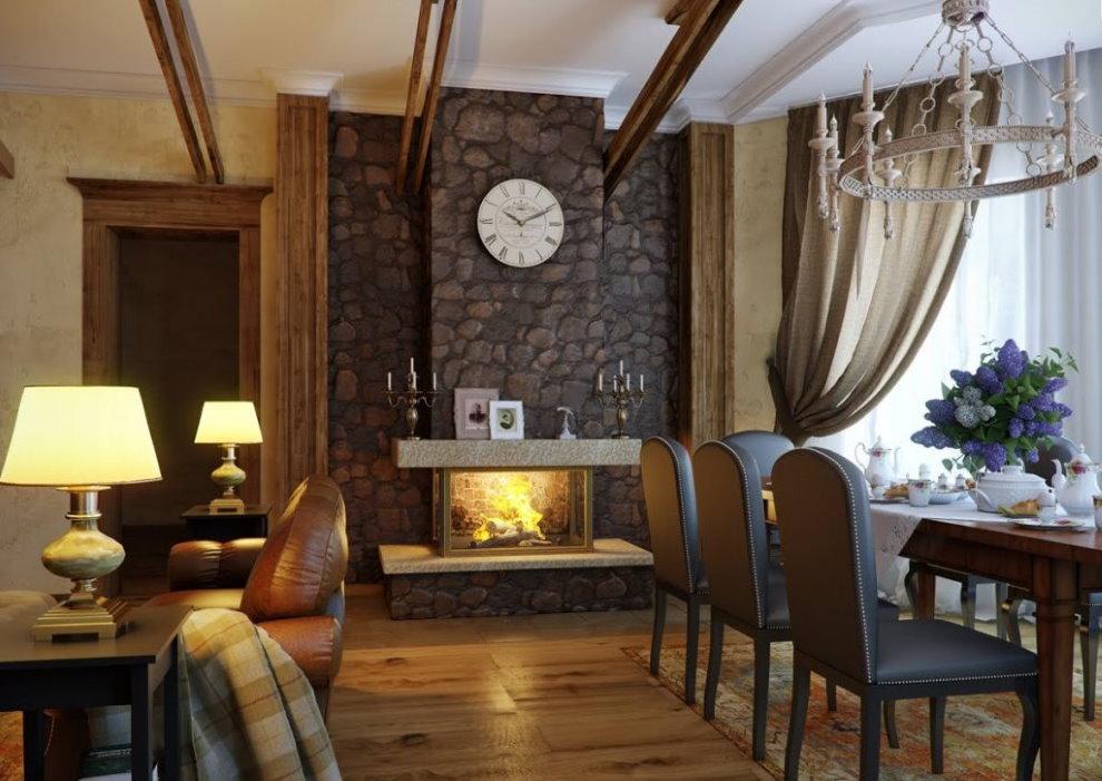 Отделка стены камнем в гостиной стиля кантри