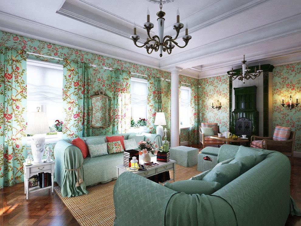Бумажные обои с цветочками на стене гостиной в стиле прованс