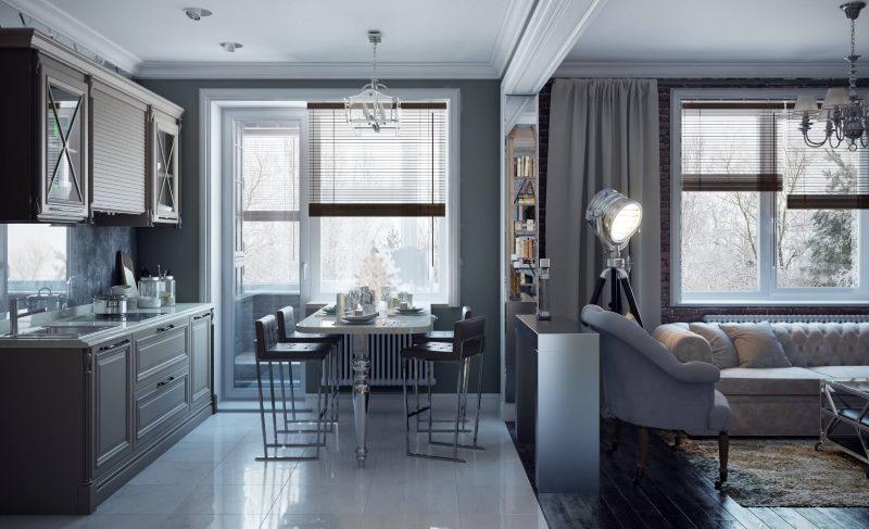стильная кухня и зал