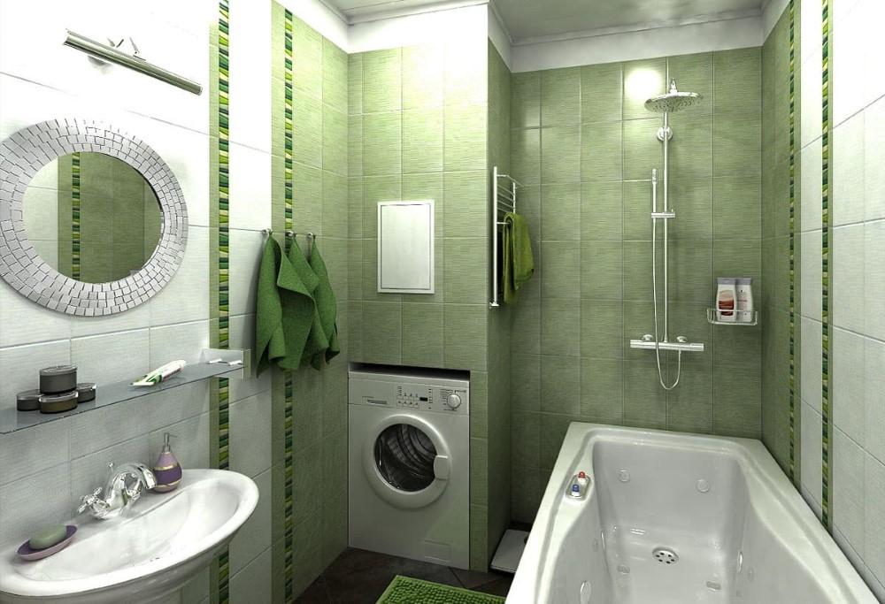 Стиральная машина в нише стены раздельной ванной