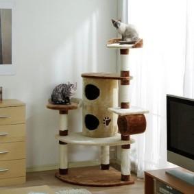 стойка для кошек в углу гостиной