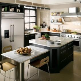 стол из искусственного камня на кухню идеи дизайна