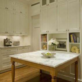 стол из искусственного камня на кухню интерьер