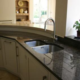 стол из искусственного камня на кухню идеи интерьера