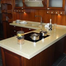 стол из искусственного камня на кухню идеи оформления