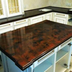 стол из искусственного камня на кухню идеи варианты