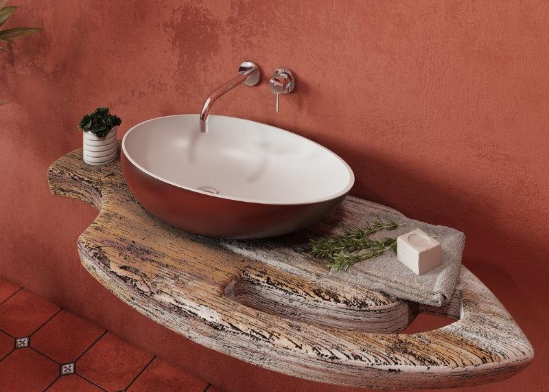 Накладная раковина в ванной современного стиля