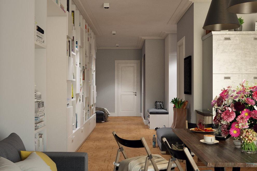 Просторный коридор в квартире с 4 комнатами