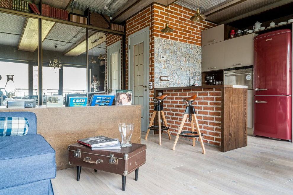 Квартира-студия в индустриальном стиле интерьера