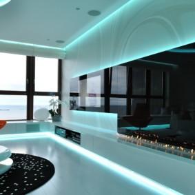 Неоновая подсветка в интерьере гостиной