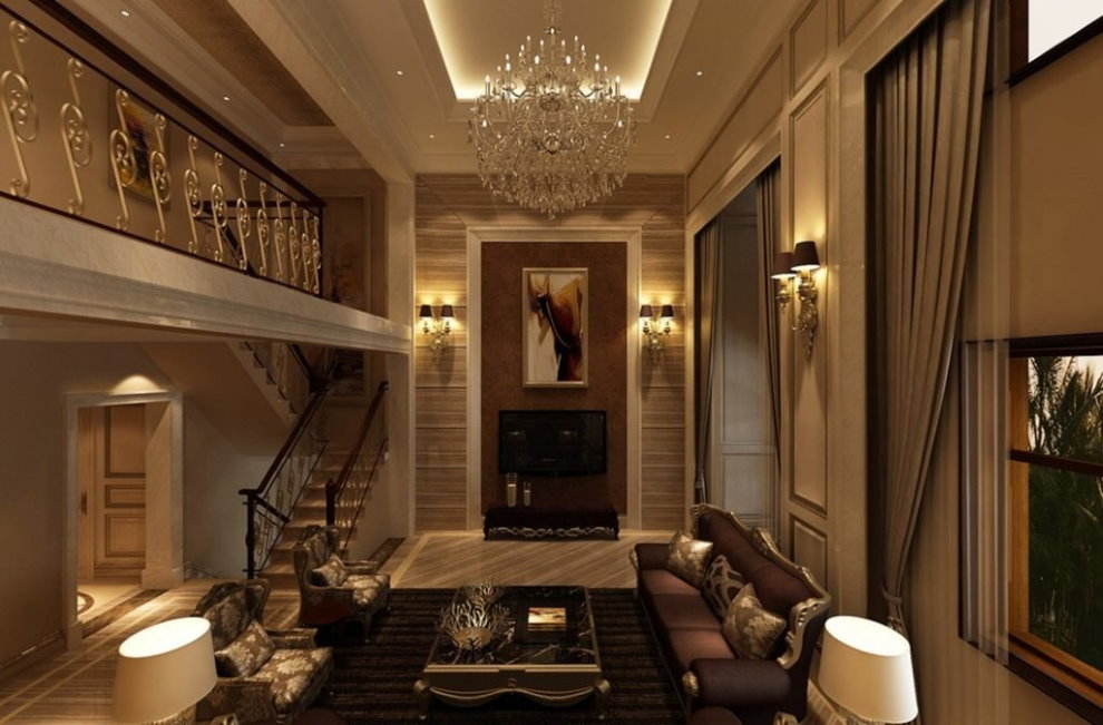 Освещение гостиной в стиле неоклассика