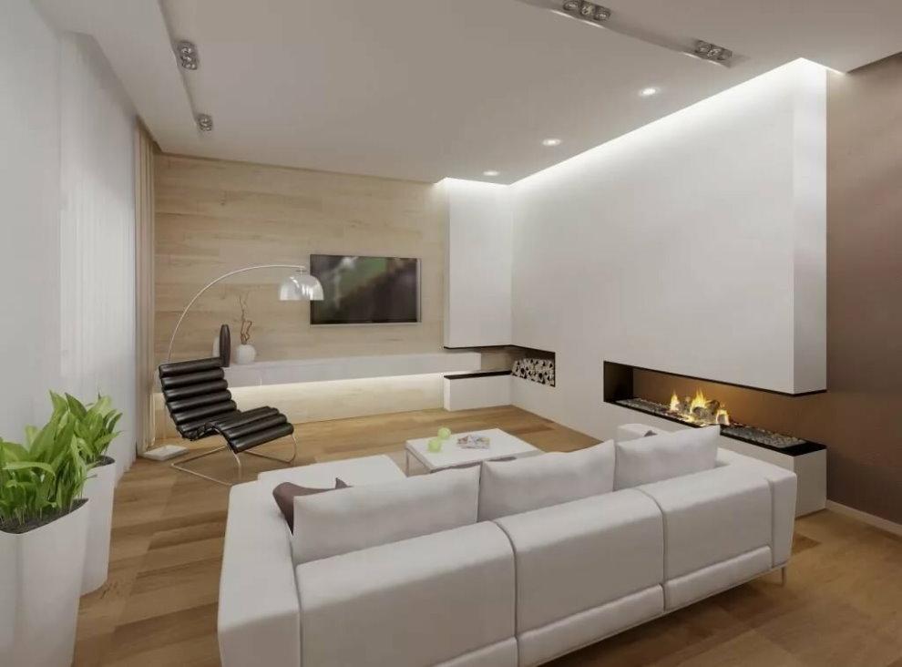 Освещения зала в стиле минимализма