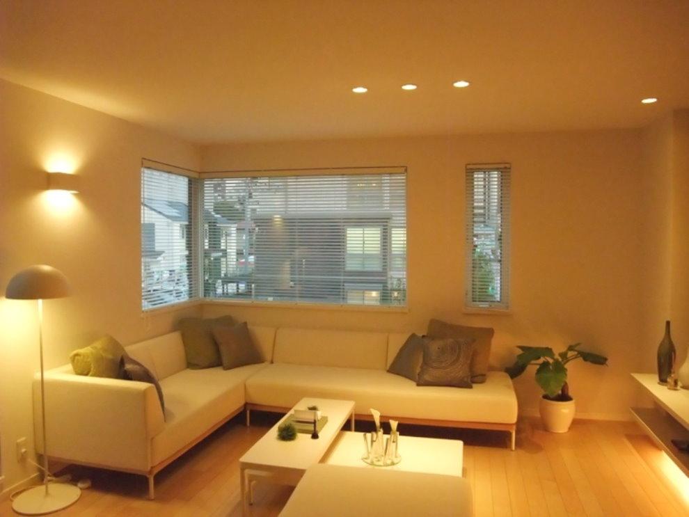 Точечные светильники над диваном в зале