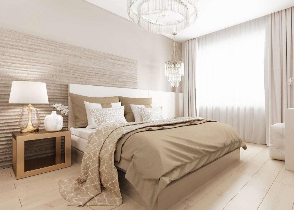 Светлый пол в спальне современного стиля