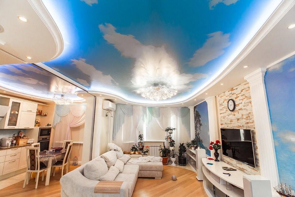 Подсветка натяжного потолка с фотопечатью