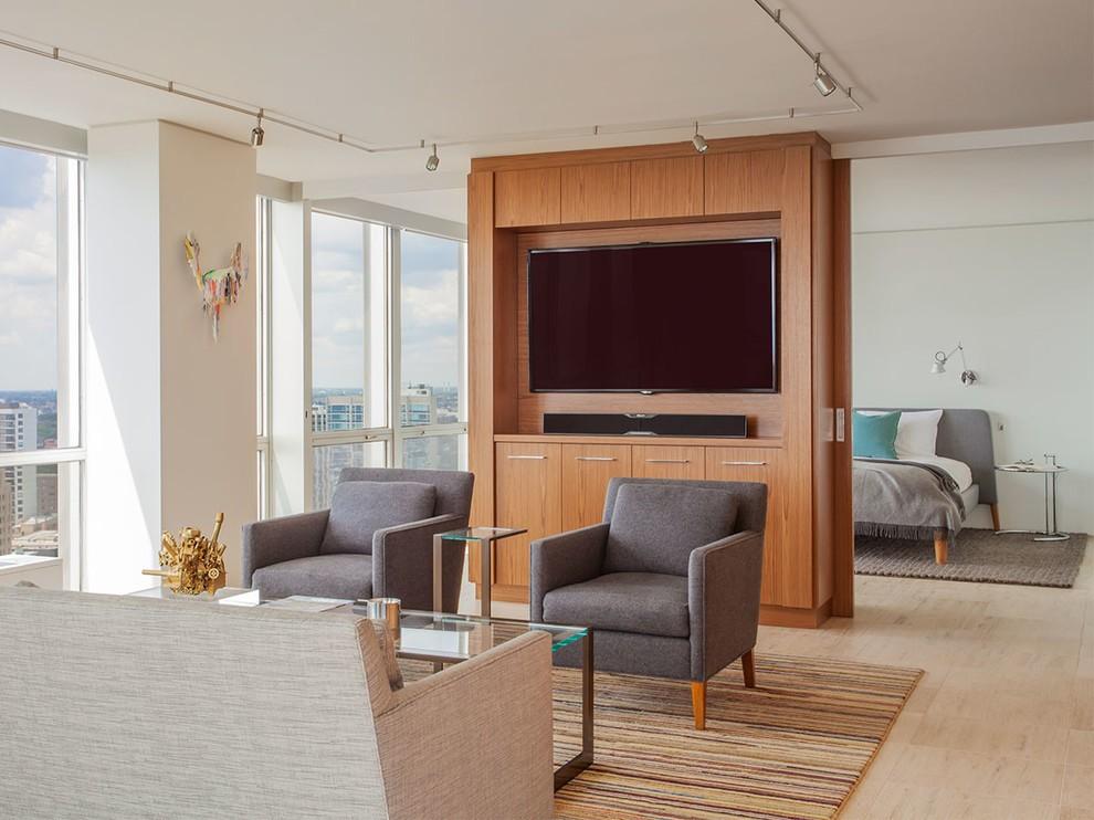 Телевизор на перегородке в однокомнатной квартире