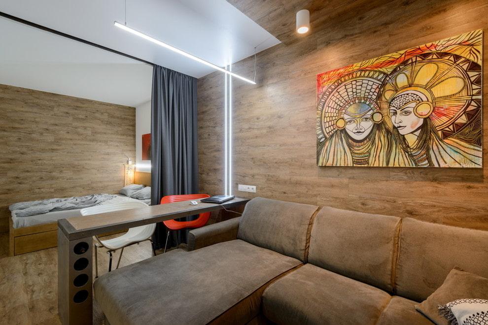 Зонирование шторами пространства однокомнатной квартиры