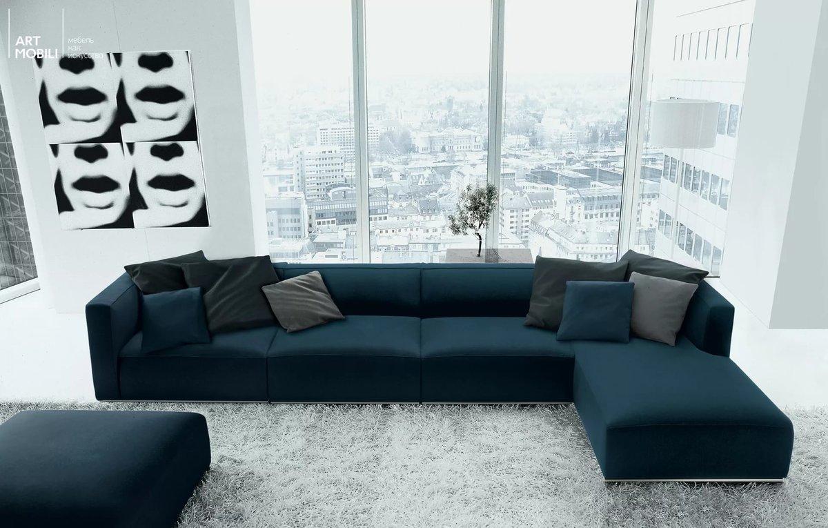 темно синий диван современный стиль