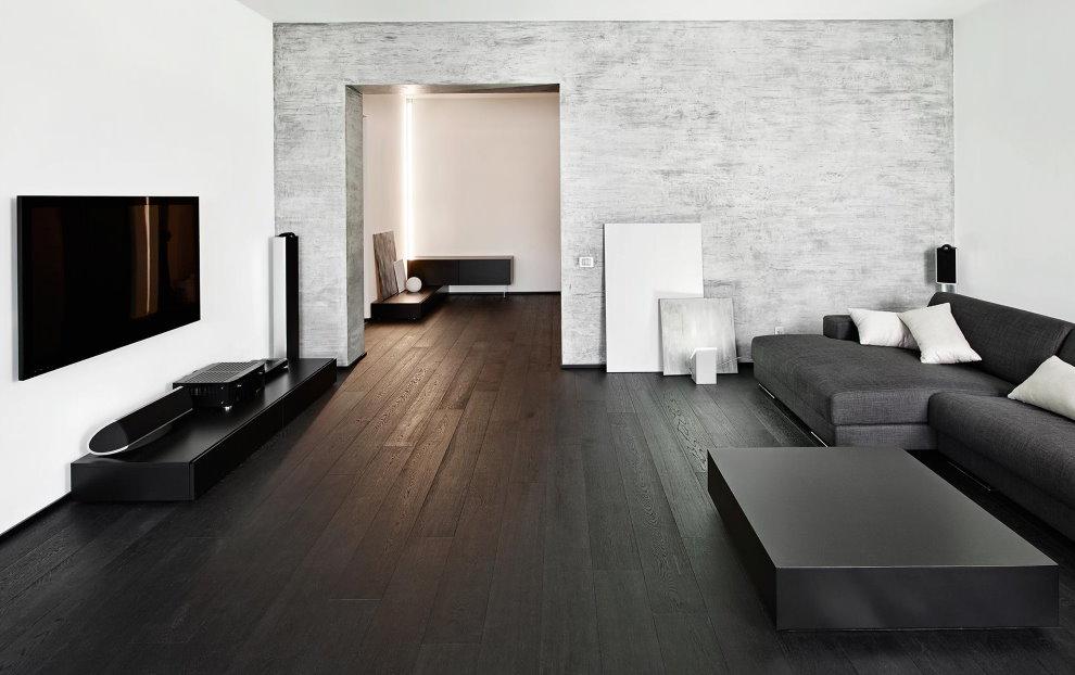 Просторный зал в минималистическом стиле