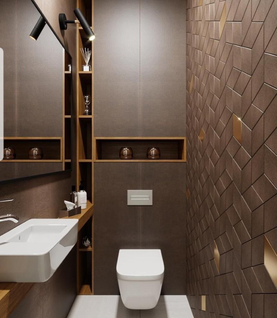 Интерьер туалета в коричневых тонах