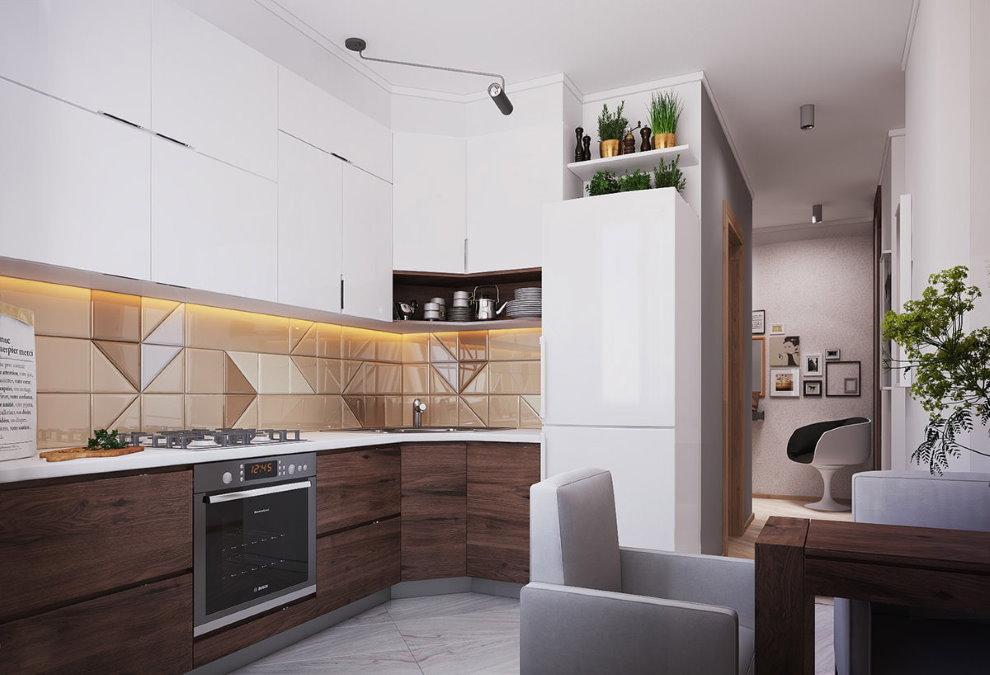 Угловой гарнитур в кухне гостиной