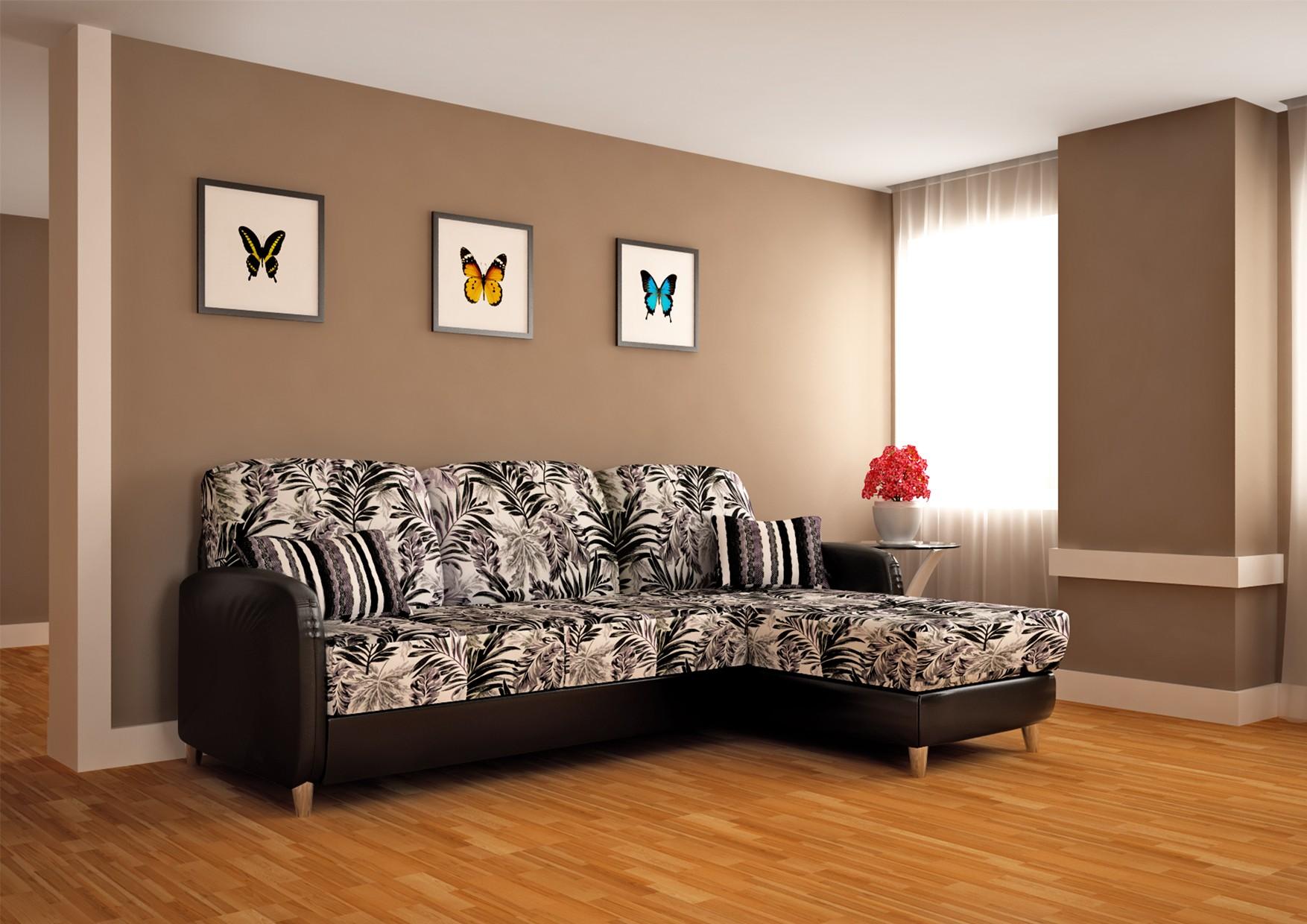 угловой диван с принтом