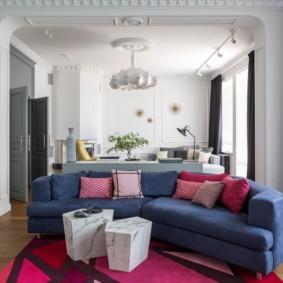 угловой диван в гостиной дизайн фото