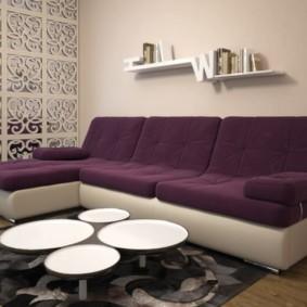 угловой диван в гостиной фото декор