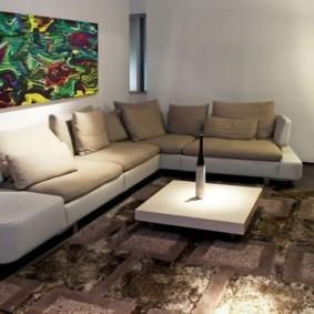 угловой диван в гостиной интерьер