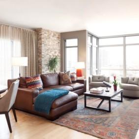 угловой диван в гостиной интерьер фото