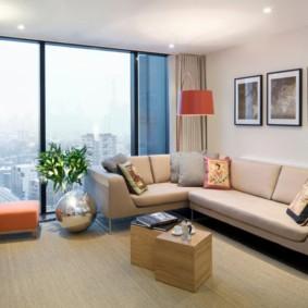 угловой диван в гостиной фото интерьер